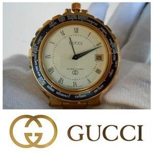 RARE! Gucci swiss-made monogram alarm pocket watch